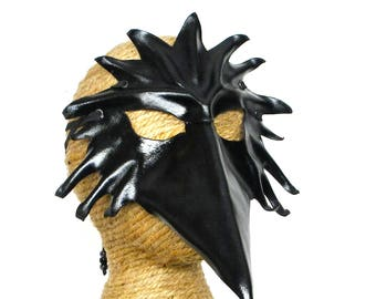 Leather Raven Mask, Handcrafted Leather Crow Mask, Black Bird Art Mask (M252)