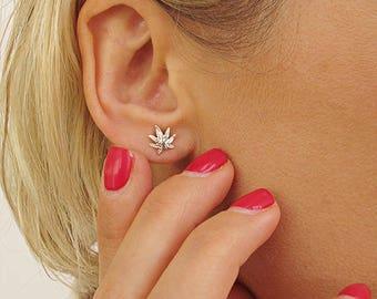 Minimalist Earrings. Flower Studs. Tiny Silver Stud Earrings. Sterling Silver Petal Studs. Tiny Leaf Earrings, Cannabis Earrings, Hemp stud