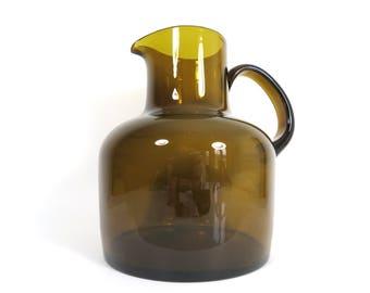 Modern Glass Pitcher // Vintage Dark Green Brownish Moss Art Glass Pitcher Scandinavian Swedish Style Oversize Vase Statement Piece
