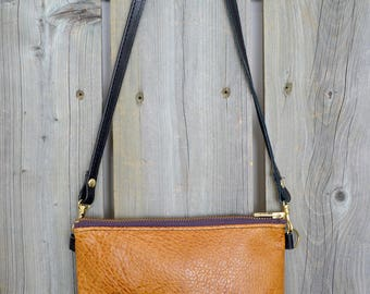 Caramel Leather Branded Side Bag - Cross Body Bag - Soft Leather Purse -One Of A Kind - Handmade Gifts For Her