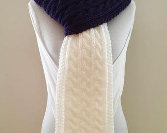 Cable Knit Scarf - white and purple