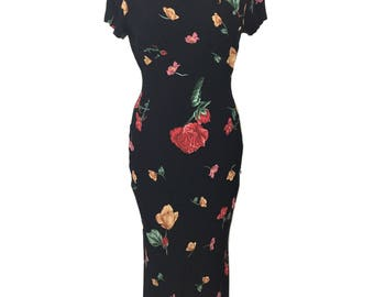 vintage 1930's style floral dress / Henri Bendel / dark floral / 90's does 30's / rayon / women's vintage dress / tag size 4