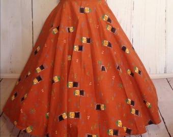 VTG 1950s Rare GameShow Novelty Print Circle Skirt