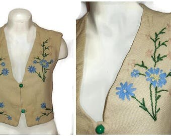 Vintage German Embroidered Wool Vest 1940s 50s Floral Embroidered Vest Folk Top Handmade Unique S chest to 36 inches