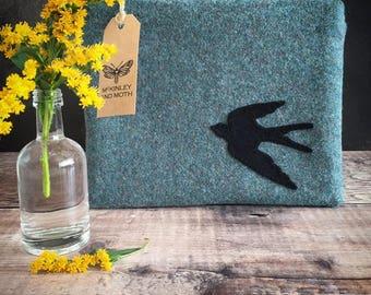 Swallow on British Tweed Make-up Bag