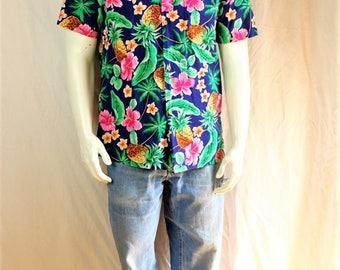 Hawaiian shirt Vintage mens clothing Short sleeve button up shirt Tropical print cotton shirt Women button down pink blue floral shirt M L