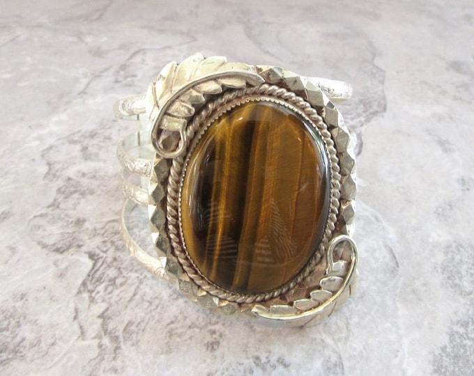 Native American Cuff Bracelet, Sterling Silver Cuff, American Indian Cuff Bracelet,  Tiger's Eye Cuff Bracelet, Cuff Bracelet, Vintage Cuff