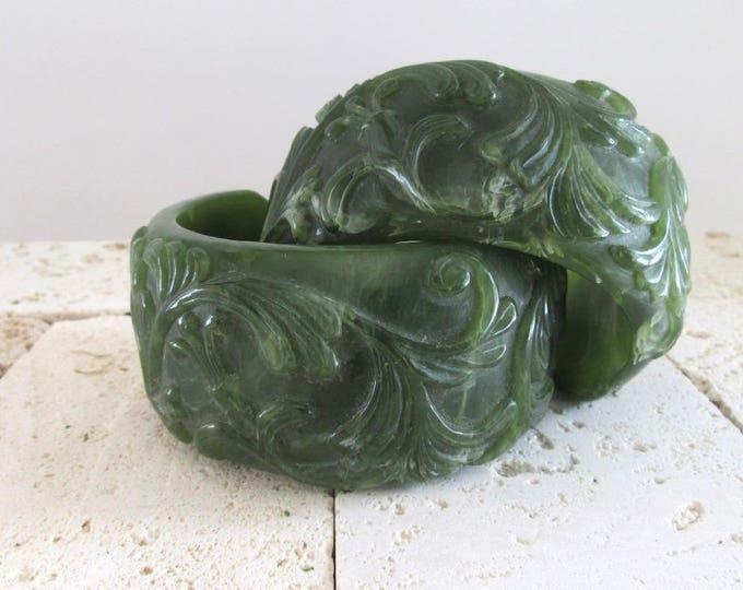 Vintage Marbleized Green Plastic (??Bakelite??) Cuff Bracelets, Wide Cuff Bracelet, Vintage Bracelet, Vintage Cuff, Pair of Bracelets