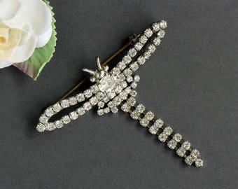 Vintage Rhinestone Dragonfly Dangle Silver Brooch Pin