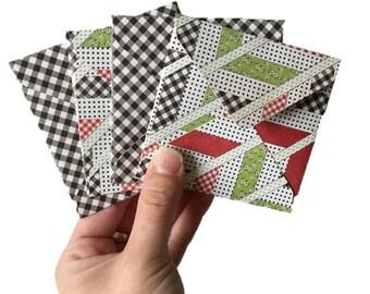 Set of 4 // Mini Square Envelopes // Gingham Stationery // Gingham Envelopes // Summer Stationery // Mini Envelopes / Square Envelopes