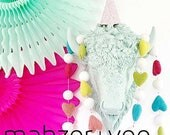 RESErVED for cotswoldmama:  2 SMaLL RAInBOW Zebra Head Wall Mounts with SILVER EYES and EARS