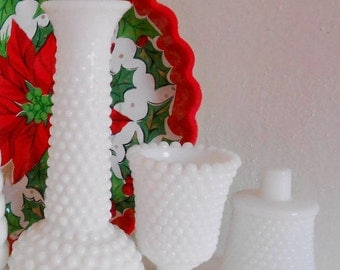 Vintage Milk Glass vases, goblet and votive