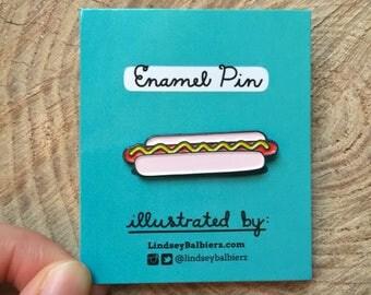Hotdog Pin / Hotdog Enamel Pin - Illustrated