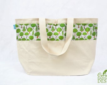 Woodland Trees Large Tote Bag, Canvas Tote, Reusable Shopper Bag, Cotton Tote, Shopping Bag, Eco Tote Bag, Reusable Grocery Bag