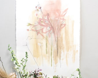 PIECED TOGETHER - Original art, floral inspired abstract painting, watercolor paper