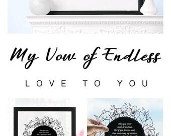 Wedding Vow Gift, Vow Renewal Gift, Wedding Vow Keepsake, Custom Vow Art, Wedding Vow Anniversary Gifts, 1st Anniversary Vows, Unique Gifts