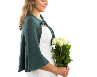 Wedding Bridal Dress Jacket , Alternative Wedding Capelet. Vintage Wedding Cape . Bridal Knit  Bolero . Irish Bride Bolero Shrug.