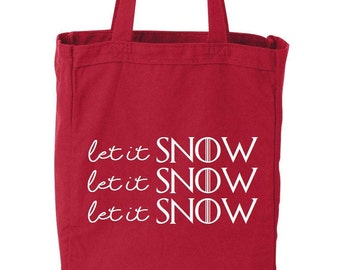 Let It Snow Funny Cotton Canvas Tote Eco Friendly Reusable Grocery Bag Christmas Gift Bag
