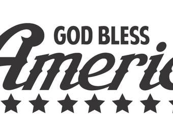 GOD BLESS AMERICA Decal.  Patriotic Decal. 4th of July.