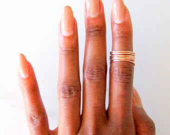 Set of 6 Rose Gold Rings, rose gold knuckle rings, rose gold midi rings, stacking ring set, boho rings, gift for her, minimalist jewelry