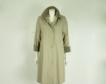 St Michael Vintage Fur Lined Mac Trench Coat