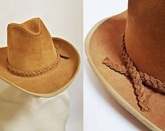 vintage HENSCHEL Leather Western Wide Brim Cowboy Hat w Braided Band