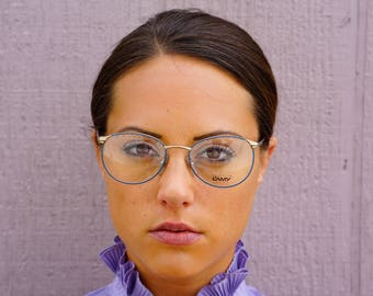 Vintage Eyeglass Wire Rim 1990's By Lamy New Old Stock Glasses Made In Italy Frames Blue Toned Enamel Cheap