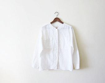 White Linen Shirt / Vintage Linen Shirt / 90s Shirt / 90s Minimalist / Linen Clothing / Long Sleeve Linen Shirt / Minimalist Shirt