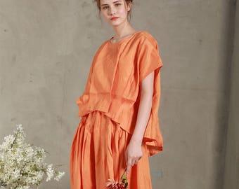 Loose orange Linen Shirt (8 colors), Pintuck folded blouse, linen blouse, oversized linen shirt tunic tops, linen tops, plus size shirt