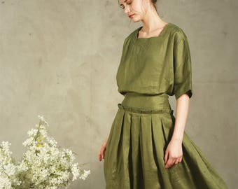 linen shirt tunic in moss green (more colors), oversized square neck blouse,  loose fitting linen kimono, half sleeves blouse tunic