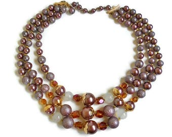 Brown Bead Necklace Triple Strand Bronze Copper, Sugar Coated and Faceted Amber Beads, VINTAGE Multi Strand Collar Length Beaded Necklace