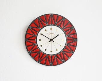 Red ceramic clock, 70s wall clock, 70s kitchen clock