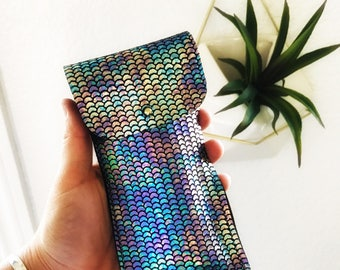 Rainbow Mermaid Scale Leather Personal Item Pouch