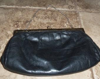 Vintage 1960's Etra black Leather snap Clutch Purse Hand Bag
