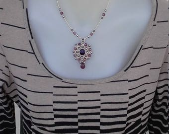 Purple crystal and glass pearl bead woven necklace handmade bead weaving