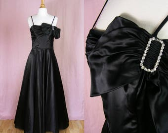 Vintage 1940s Black Satin Evening Gown - Film Noir Femme Fatale Dress - Rhinestones and Bow - Black Swan (small)