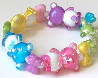 Kawaii Party - Iridescent Rainbow Teddy Bear and Bow Stretch Bracelet
