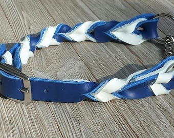 "Braided Leather Martingale Collar, 3/4"" with chain"
