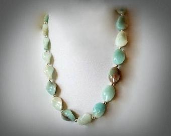 Gemstone Necklace, Beaded Necklace, Gemstone Jewelry, Stone Necklace, Amazonite Necklace, Aqua Necklace, Blue Necklace, Aqua Blue Necklace