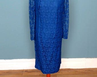 Vintage 70's / 80's Lace Midi Dress UK Size 16