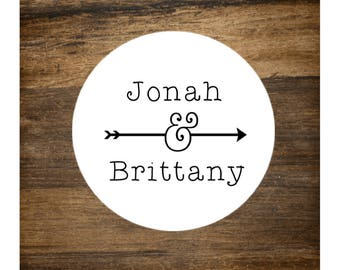 """Wedding stickers, set of 63 personalized favor labels. 1"""" round stickers. Custom names with arrow. Bridal shower or party favor stickers"""