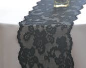 "Black lace table runner 8"" wide 3 FT - 12FT length/ends cut not hemmed/Black Wedding Decor/Wedding reception/Halloween/Stretch lace"
