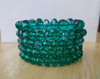 5 Row Memory Wire Cuff Bracelet with Blue/Green Crystal Beads