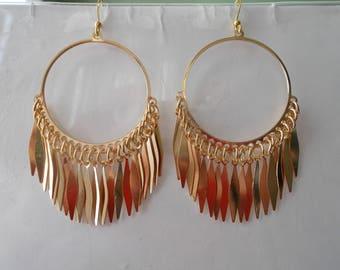 Gold Tone Hoop Earrings with Gold Tone Dangle