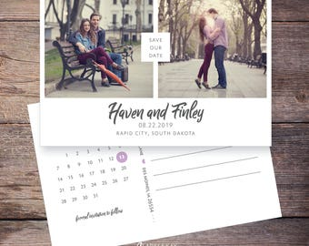 Floral Save the Date Postcard, Flowers, Wedding Save-the-Date Card, Invite, Invitation, Photos, DIY Printable, Digital File - Haven