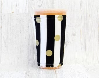 Iced Coffee Cozy, Coffee Cozy, Gold Glitzy Dots Cup Cozy, Cup Sleeve, Black Stripes Coffee Cozy, Coffee Cuff, Insulated Cup Sleeve