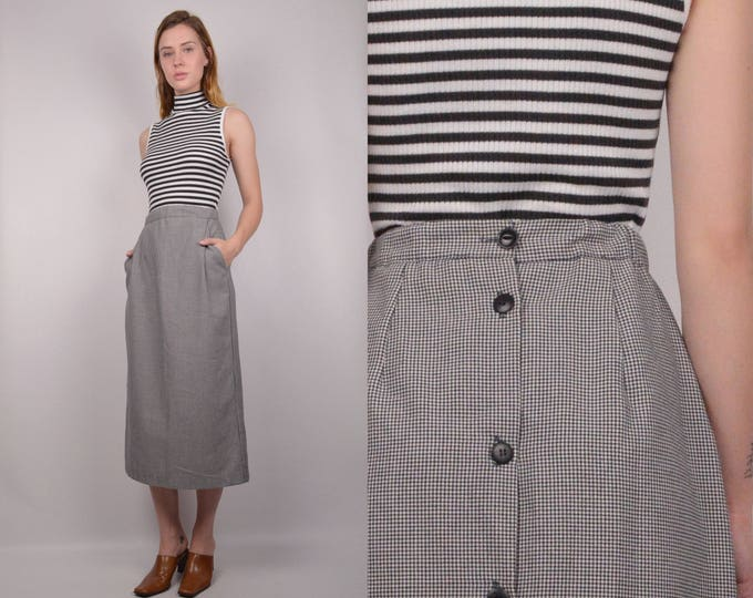 Houndstooth Midi Skirt w/ pockets + button back