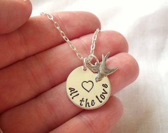 All The Love Necklace ~ Sterling Silver. Hand Stamped, Harry Styles Inspired, Swallows, Open Heart