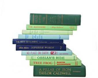 Green BLue Decorative Books, Book stack,  Book Set, Old Book Decor, Instant Library, Foot of Books, Book Collection