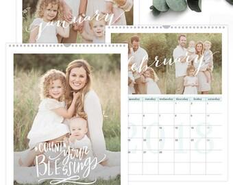 2018 Calendar Template, 2018 Wall Calendar, 2018 Calendar Template for Photoshop, Photography Templates, Photohop Templates - CLDR107C